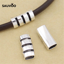 SAUVOO 10pcs/lot Alloy Hollow Long Tube Beads Hole 8*10mm Antique Silver Color Bracelet Charms DIY Jewelry Finding Suppliers(China)