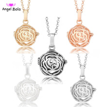 Pryme Flower Shape Fragrance Necklaces for Women 20.5mm Angel Bola Oil Cage Long Chain Jewelry Small Pendants Necklace NL035