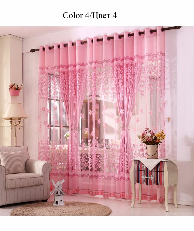 European Royal Curtains 11 Colors Embroidered Voile Curtains for Living Room Drapes Crystal Beaded Curtains Sheer (65)