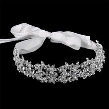 Handmade Crystal Flowers Ribbon Bridal Headband Tiara Crown Silver Wedding Hair Accessories Elegant Rhinestone Women Head Pieces(China)
