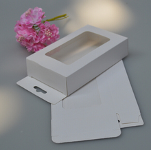 3*10*12cm White cardboard window box with clear pvc for proucts/gifts/favors/display packing show with hook(China)