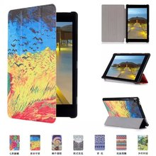 for Amazon Kindle Fire HD8 2015 Tablet 3D Colored Painted PU Leather Case Flip Smart Cover Case For Amazon Fire HD 8 Tablet Case