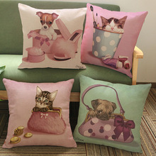 45*45cm Creative Personality Lovely Cartoon Dog Cat Cotton Linen Pillowcase Cushion Cover Pink Sofa Decor Throw Pillow Case(China)