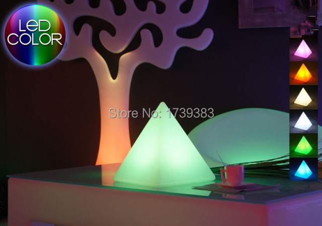 4pcs/lot Wholesale Remote control Multicolor LED Light pyramid - PYRAMIS,Triangle sculpture table lamp led furniture light(China (Mainland))