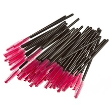 50 pcs/pcak Professional Disposable Non-toxic Eyelash Brush Eye Lash Curler Mascara Wands Makeup Brushes Pink & Black(China)