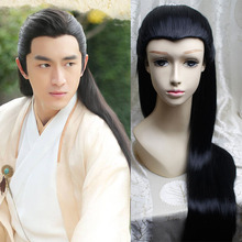 black chinese ancient dynasty warrior hair cosplay black long straight hair warrior cosplay vintage hair knight head wear(China)