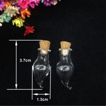 500pcs Wholesale Glass wishing Bottles Chili Shape Cute drift Bottles With Cork stopper Little diy Gift tiny Jars Vials pendant
