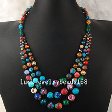 "Free Shipping Women Fashion Jewelry 4~12mm New Fashion Multicolor Howlite Beads Necklace 19"" FG4430(China)"