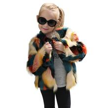 KLV 2017 Fashion Hot Sale Kids Baby Faux Fur Coat Girls Jacket Thick Warm Outwear Clothes faux fur coat baby winter coats 2017(China)