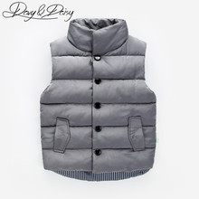 DAVYDAISY Children Waistcoat Boys Girls Thick Winter Vest Coat Stand Collar Solid Button Padded Warm Sleeveless Jacket WCT-057(China)