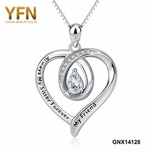 YFN 925 Sterling Silver Always My Sister Forever My Friend CZ Crystal Love Heart Message Pendants Necklaces For Friendship Gifts(China)