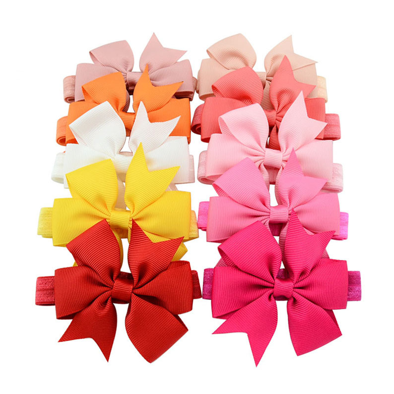 20pcs 8cm Cute Kids Baby Girls headbands Toddler Infant Chiffon Bowknot Solid Color Hair Bows Headband children hair accessories<br><br>Aliexpress