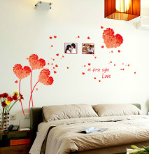 Red heart Shape Flowers with two pictures frames Wall Stickers at first sight love wall Decal Quote Home Decoration Accessories(China)