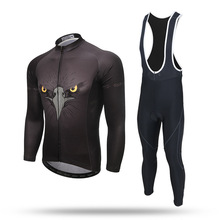 New Long Sleeve Cycling Sets Eagle Black Anti-sweat Jersey and GEL Pad Bib Pants Trousers MTB Bike Bicycle Jersey Suit Ciclismo