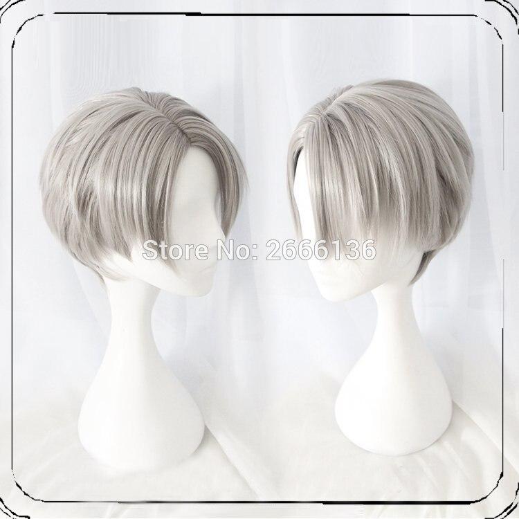 Wig cosplay YURI!on ICE  Victor Nikiforov  Animation wig 35cm Short straight hair Harajuku Wave curls lolita daily wigs+cap<br><br>Aliexpress