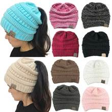 CC Ponytail Beanie Hats For Women Winter Skullies Beanies Caps Female Knit Warm Stylish Hat For Ladies Fashion Girls Knitted Cap(China)