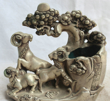 "song voge gem S5918 8"" China Silver Zodiac Year three Sheep Goat Statue flower Brush Pot pencil vase"
