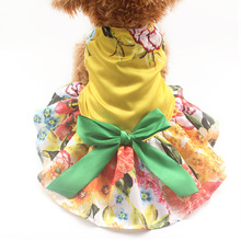 Armi store Large Yellow Flower Pattern Dog Dresses Dogs Princess Dress 6071061 Pet Puppy Clothes Supplies(China)