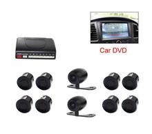 Vehicle Car Video DVD Parking Sensor Backup Visible Radar System Assistance Auto 8 Sensors with Front Rear view Camera 2 Cameras