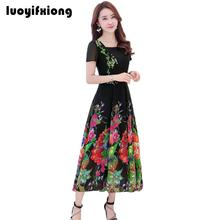 Buy Luoyifxiong 2018 Vintage Short Sleeve Slim Summer Long Beach Dress Female Fashion Floral Printed High-End Chiffon Dress Women for $22.19 in AliExpress store