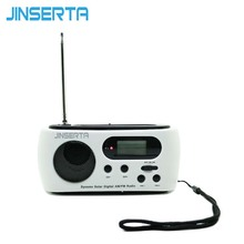JINSERTA Mini Portable Radio Solar/Crank Dynamo Power FM/AM Scan Digital Radio World Receiver With 3 LEDs Flashlight(China)
