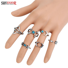 SHEEGIOR Bohemian Vintage Rings for Women Silver color Arrow Moon shape Turquoises Men Ring Set Fashion Jewelry Accessories Gift