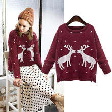 Fashion Women Christmas Deer Pattern Sweaters New Long Sleeve O-Neck Knitted Wool Cotton Pullovers Jumpers Sueter Winter 16995