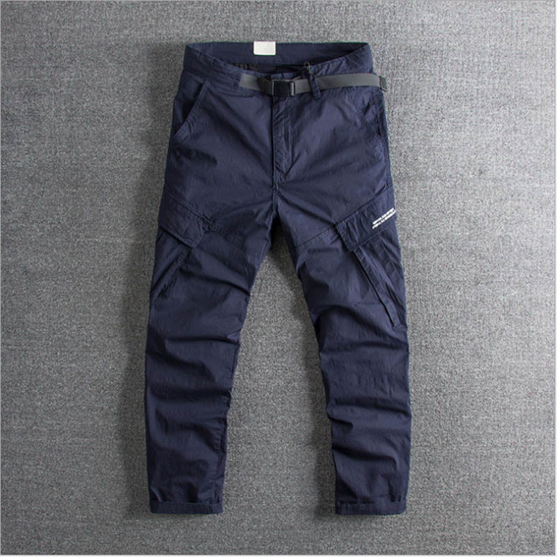 Drawing rope, buckle waistline, summer fashion youth overalls, handsome high quality men's casual pants