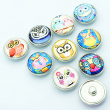 Hot sale 10pcs mixed style lovely owl 18mm/20mm/22mm glass cabochon photo snap buttons fit snap jewelry wholesale