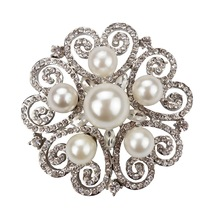 High Quality Crystal Rhinestones and Simulated Pearl Flower Bejeweled Wedding Brooch Pins