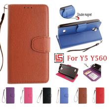 Luxury Fashion PU Leather Flip Wallet Phone Mobile Case capa Cover Cove Bag For Huawei Hauwei Huwawei Ascend Y5 Y560 Brown