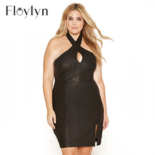 Floylyn 2017 New Plus Size Women Clothing Sexy Bodycon Halter Cut Out Backless Dress Streetwear Black Solid Big Size PU Dress