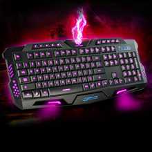 English 3 Colors Backlight USB Wired Gaming Keyboard with Adjustable Light for Laptop Desktop Gamers