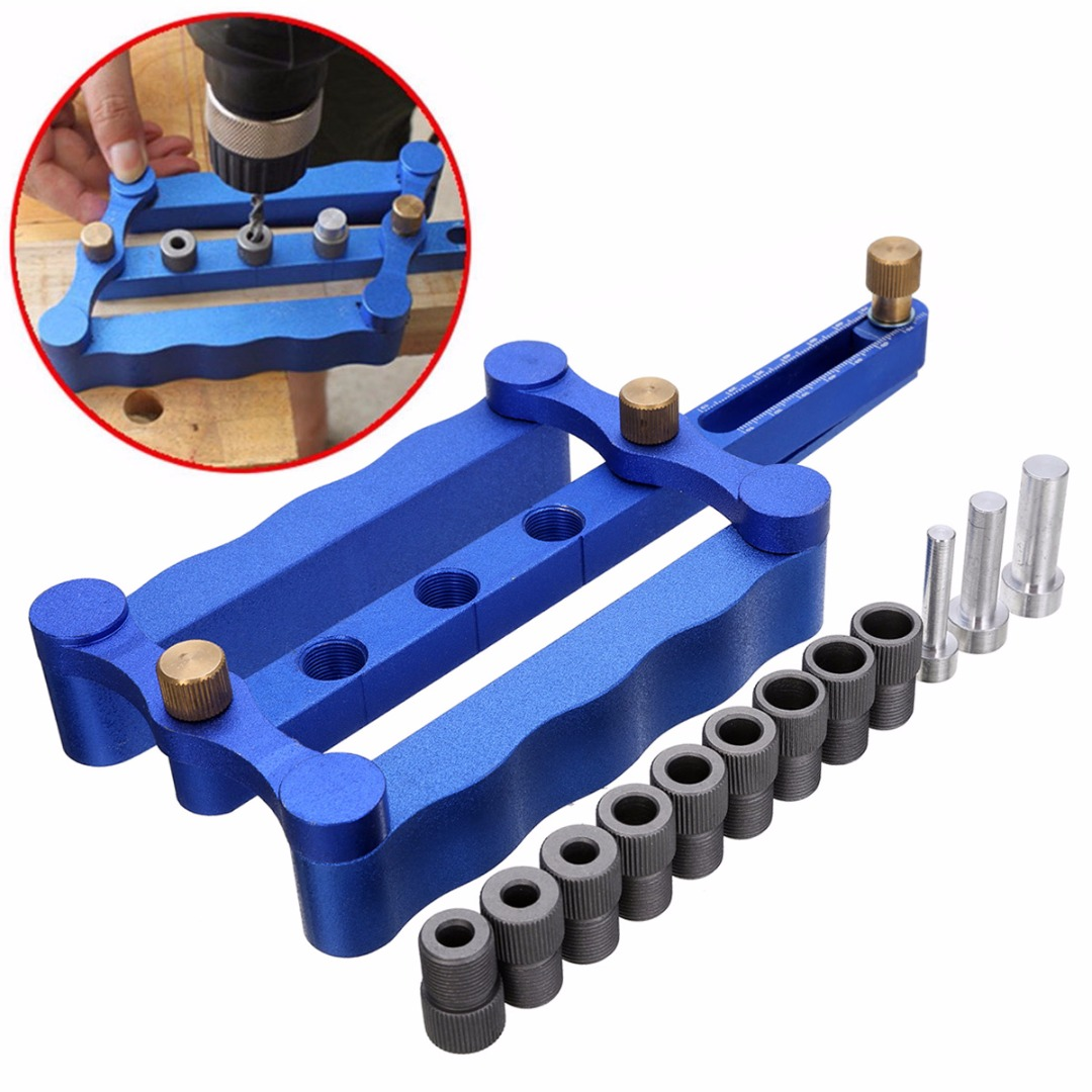 High Precision 6/8/10mm Dowelling Jig Kit Self Centering Metric Dowel Drilling Wood Drilling Tool Set For Holding 17-60mm Wood