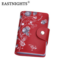 EASTNIGHTS 2017 card holder leather business card holder women leather wallet credit card holder book ID card case(China)