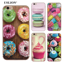 USLION Phone Cases For iPhone 6 6s 7 Plus 5 5S SE Macaron Donuts Cupcake Case Rainbow Food Pattern Back Cover Soft TPU Capa