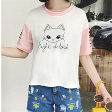 Leisure Harajuku Style Lovely Cartoon Cat Printed T-shirts Women Hit Color Pink Sleeve Girls Tee Tops Loose Cute T shirt Female