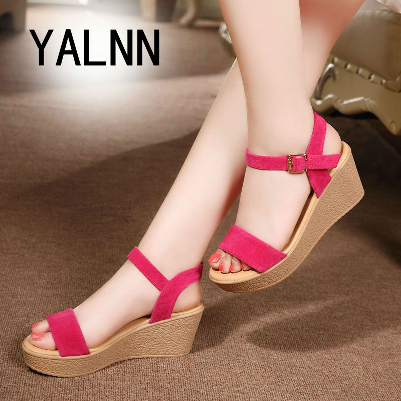 Women Sandals Pink 2017 New Summer Wedges Open Toe Fashion Platform High Heels Wedge Sandals Female Shoes Women Shoes Extra Size<br><br>Aliexpress