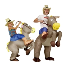 Purim inflatable cowboy Dinosaur costume Ride on horse Fancy party dress Halloween cosplay costumes for adult kids