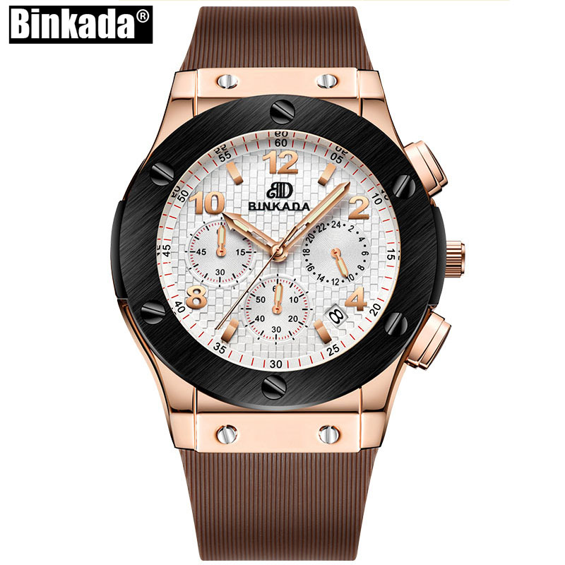 BINKADA Men Silicone Chronograph Watch Top Luxury Brand Casual Sport Date Rose Gold Watch Men Business Quartz Watch Relojes <br>