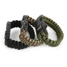 Outdoor Camping Hiking Survival Bracelet Kits Paracord Cord Wristbands Emergency Rope Bangles Gear Whistle Scraper for Fashion