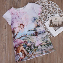2017 Adorable Fancy Cartoon Short Sleeve Cute Baby Kids Girl Floral Clothes Pretty Dress