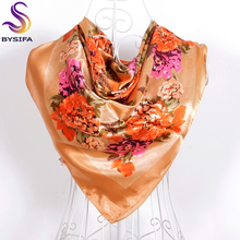 New Khaki Polyester Square Scarves For Ladies 90*90cm Chinese Roses Imitated Silk Scarf Shawl Autumn Winter Warmth Scarves Cape
