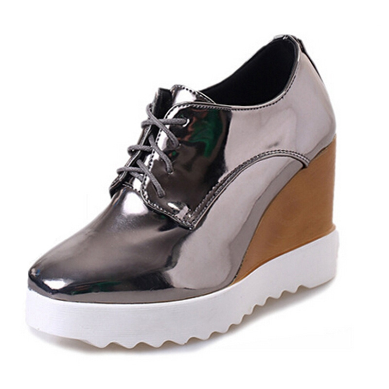 2017 Patent Leather Women Oxfords Shoes Champagne Wedges Casual Shoes Woman Spring Creepers Sexy High Heels 3 Colors XWD2807<br><br>Aliexpress