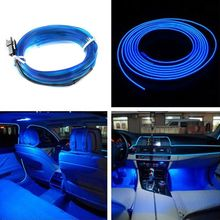 2M Car LED EL Wire Cold Light Glow Interior Flexible Atmosphere Decor Lamp Car styling Ambient light clip clip 12V light line(China)