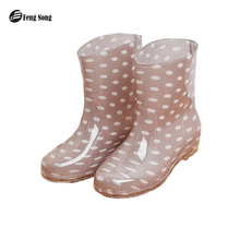 Feng Nong Rain Boots Warm British Thin Thicken Platform PU Waterproof Motorcycle  Flower Colorful Martin Boots Woman Shoes w069