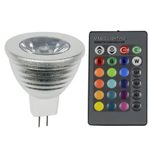 2016 LED MR16 Dimmable LED spotlight AC/DC12V RGB Lampada led 16 Colors 3W RGB LED bulb Lamp + 24key IR Remote Control led lamps