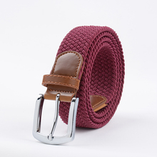 Extra Long PaleGodenrod  Elastic Web Belt Mens Stretch Belt Metal Buckle Woven Braid Belts for Big Men