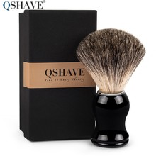 Qshave Man Pure Badger Hair Shaving Brush 100% Original for Razor Edge Safety Straight Classic Safety Razor 11.5cm x 5.2cm(China)