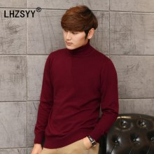 LHZSYY Autumn and winter New high lapel Cashmere Sweater casual solid color soft Men 's Sweaters Shirt pullovers 2017(China)